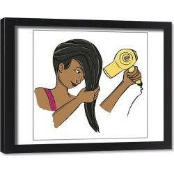 Framed Print. Girl wringing her long dark hair while holding blow dryer in the other hand