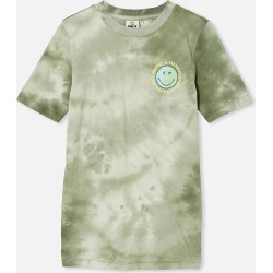 Free by Cotton On - Co-Lab Free Tee - Lcn smi swag green tie dye /smiley