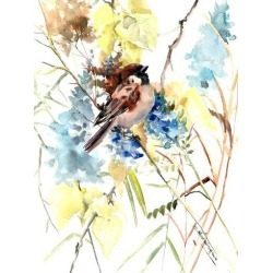 Giclee Painting: Nersisyan's Sparrow In The Field, 40x30in.