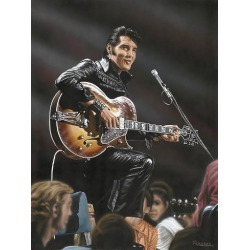 Giclee Painting: Vlasak's Elvis in Leather, 16x12in.