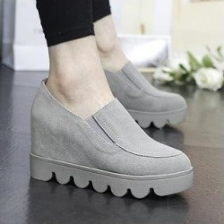 New Spring Leather Elastic Opening Increased With Thick Bottom Shoes (grey - 37), Women's, Gray